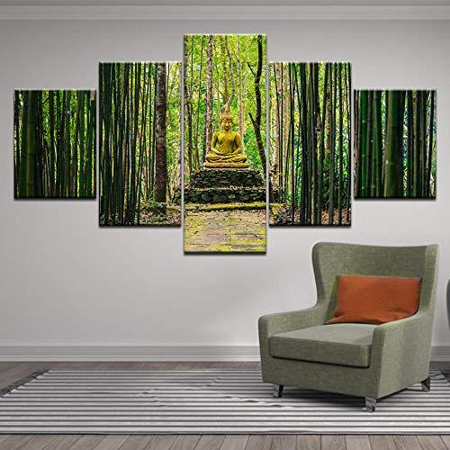 Boeddhisme Zen Boeddhabeeld bamboe bos Poster HD Print Canvas schilderij foto natuur Wall Art woonkamer Home Decor-30x40 30x60 30x80cm (geen frame)