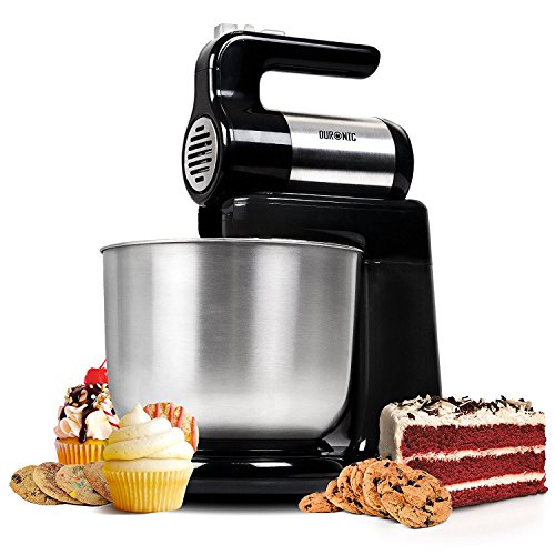 Duronic SM3 Robot da cucina 2 in 1 da 300 W con ciotola da 4 L inclusa – Impastatrice elettrica con 2 fruste / 2 ganci / 1 frusta da cucina – 5 velocità funzione turbo – Ideale per dolci, biscotti