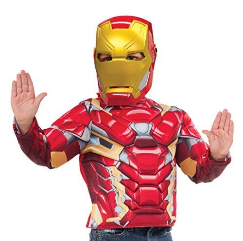 Avengers - Disfraz de Iron Man para niños, pecho musculoso y máscara en caja, infantil 5-6 años (Rubie's 31720)