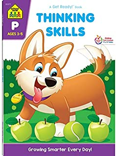 School Zone - Thinking Skills Workbook - 64 Pages, Ages 3 to 5, Preschool to Kindergarten, Problem-Solving, Logic & Reasoning Puzzles, and More (School Zone Get Ready!™ Book Series)