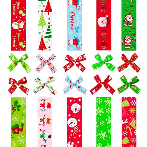 """D-buy 20 Yards 1"""" Wide Christmas Ribbon, 10 Styles Christmas Grosgrain Ribbons for Christmas Decoration Christmas Gift Wrapping Hair Bow Ribbon Wreath Holiday Party"""