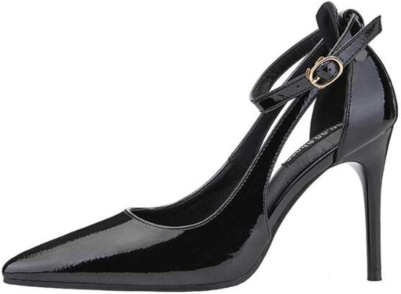 KTYXDE High Heels Fashion Sexy Work shoes Shallow shoes Single shoes Stiletto 9.5CM 4 colors Women's shoes (color   Black, Size   EU36 UK4 CN36)