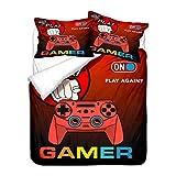 Juego de Cama para Niños Niña Niño Adolescentes 3D Gamer Videojuegos Controlador de Videojuegos Funda Nórdica de Poliéster Gamepad Funda de Almohada (Color 6, Cama 105/90 cm,180x220 cm)