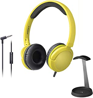 $52 » Avantree 026 Yellow Green & HS102 - Superb Sound Wired On Ear Headphones with Microphone, 1.5M / 4.9FT Long Cord for Adult...