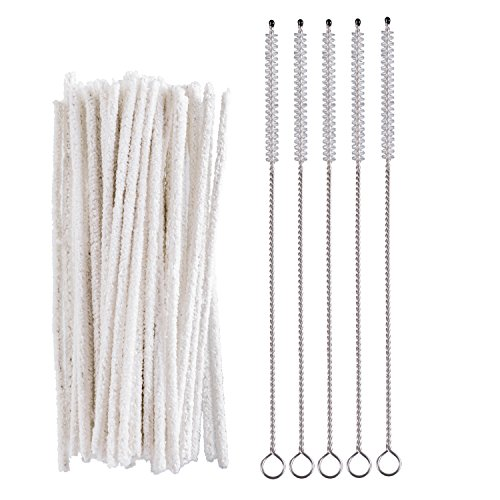50 PCS Pipe Cleaners with 5 PCS Cleaning Brush for Pipes,Guns,Tobacco Pipe