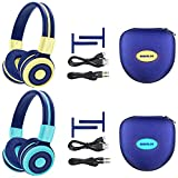 2 Pack of SIMOLIO Bluetooth Headphone with 75dB/85dB/94dB Volume Limited for Kids, Wireless Kid Safe Headphones with Hard case, Children Headphones with in-Line Audio Control for Games (Mint+Yellow)