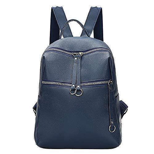 L-sister Frauen Rucksack Tide Angry Diffuse Leder Student Bag Einfache Rucksack Reisetasche Organizer Student Bag Notebook Schultaschen Einzigartiger Stil (Color : Blue, Size : A)
