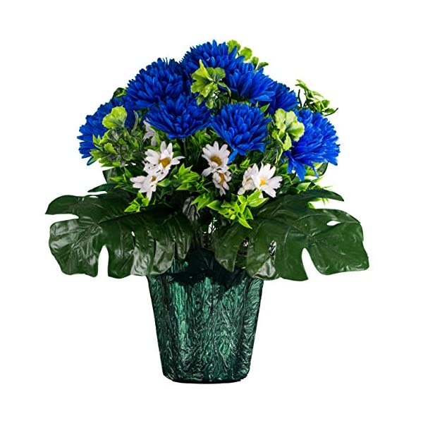 Sympathy Silks Memorial Artificial Flowers Weighted Pot Bouquet Decoration – Height 18″-20″ – Artificial Greenery – Fade Resistant – Blue Mum and White Daisy