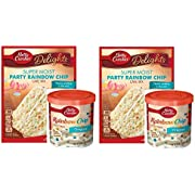 """Betty Crocker Super Moist Party Rainbow Chip Cake Mix and Betty Crocker Rainbow Chip Frosting Bundle - 2 of Each - 4 Items. """"There's Pudding in the mi"""