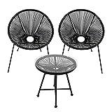 wolketon Juego de muebles de jardín Acapulco, silla con mesa, muebles de balcón, diseño retro, silla de ratán, mesa auxiliar, mesa para balcón, exterior, resistente a la intemperie, color negro