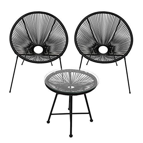 wolketon Gartenmöbel Set Acapulco Stuhl mit Tisch Balkonmöbel Retro Design Rattanstuhl Beistelltisch Balkontisch Outdoorgeeignet Wetterfest Lounge Balkon Terrasse Schwarz