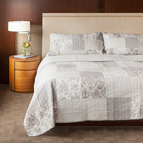 SLPR Silver Linings 3-Piece Patchwork Cotton Bedding Quilt Set - King with 2 Shams | Grey Country Quilted Bedspread