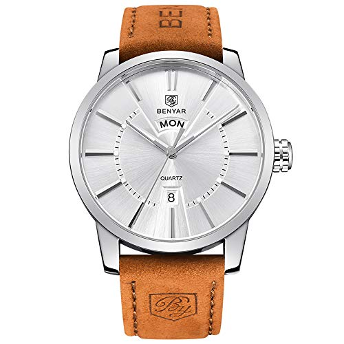 BENYAR Classic Casual Elegant Business Watch,Sport, Waterproof, Brown Leather Band, Date,Quartz Mens Wrist Watches 5101M(White)
