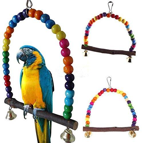 Momongel Vogelschaukel mit bunten Perlen, Schaukelspielzeug für Vögel, Papageien, Nymphensittiche, Wellensittiche, für Käfig, Vogelständer