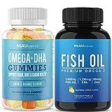 MAV Nutrition | Fish Oil Gummies 60 Count | Omega 3 Fish Oil Capsules 120 Count | for Immune, Heart & Brain Support |