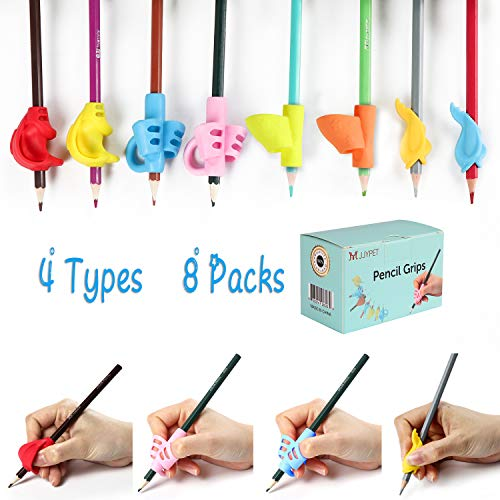 M JJYPET Pencil Grips, 8 Packs(4 Types) Pencil Grips for Kids Handwriting, Ergonomic Writing Posture Correction Tool for Children, Kids, Preschoolers, Adults, Lefties or Righties