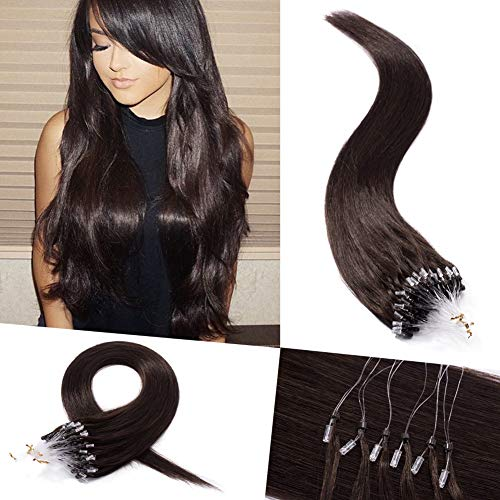 Micro Loop Ring Human Hair Extensions I Tip Pre Bonded Stick Micro Links Remy Hairpiece Dark Brown #2 Silky Straight 100 Strands 50g Cold Fusion Pre Bonded Keratin Micro Beads 16 Inch