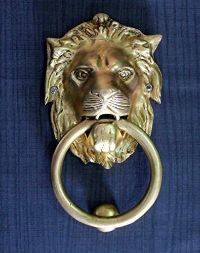 """StonKraft Brass Lion Door Knocker Knockers Gate Knocker Door Accessories (Lion 6"""")"""