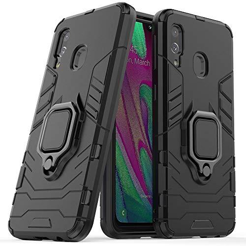 Funda Samsung A40,Sopatree Compatible para Samsung Galaxy A40 Carcasa Silicona PC Metálico Montaje Anillo Agarre Soporte Antichoque Caja Protector,Negro