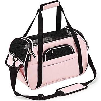 Sac de transport en maille respirante avec tapis pour animaux de compagnie, conforme aux normes des compagnies aériennes, Tissu Oxford, rose, S 16