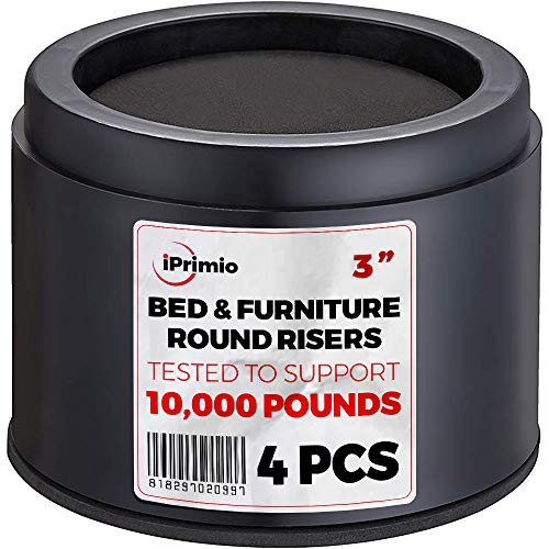 """iPrimio Bed and Furniture Risers – Round Elevator up to 3"""" & Lifts Up to 10,000 LBs - Protect Floors and Surfaces – Durable ABS Plastic and Anti Slip Foam Grip – Non Stackable"""