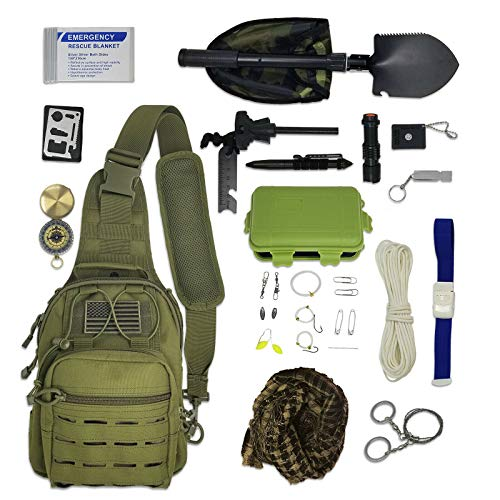 WWX Sling Bag Bug Out - Survival Pack Filled With Emergency Tools and Gear