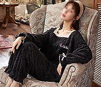 女性のラウンジウェアフランネルパジャマセットトップアンドパンツパジャマソフトスプリーウェア暖かくて快適なパジャマをセット,黒,XXL