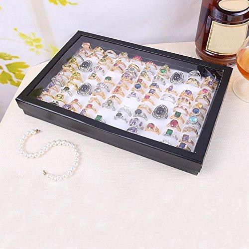 Moent Joyero de terciopelo con 100 ranuras, caja de almacenamiento para joyas, color blanco