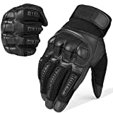 WTACTFUL Army Military Tactical Touch Screen Protection Full Finger Gloves for Motorcycle Motorbike Hunting Hiking Airsoft Paintball Riding Men Women Size Black Medium
