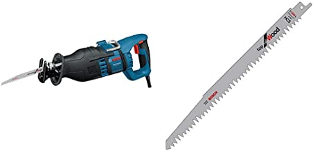 Bosch Professional 060164E200 Sierra sable 1300 W, 240 V, Negro, Azul, Rojo + Bosch 2 608 650 676 Hojas de Sierra Sable S 1531 L, Gris, Set de 5 Piezas