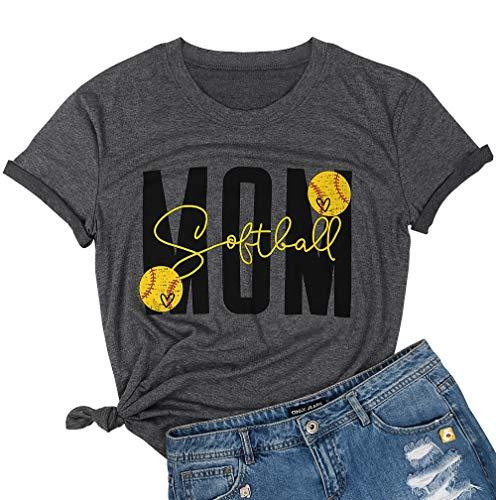 JELLYKIDS Softball Mom Shirt Women Ladies Short Sleeve...