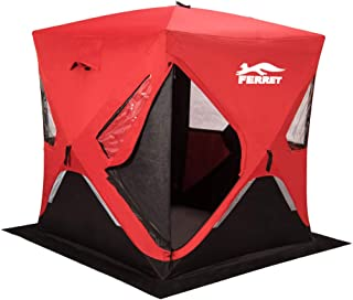 FERRET 1-2/3-4/6-8 Person Waterproof Pop-up Portable Ice Shelter Tent Insulated Ice Shelter Fishing Tent with Carrier Bag