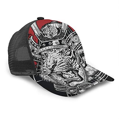 Gorra de béisbol de Samurai con diseño de tigre japonesa de gran det