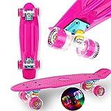 WeLLIFE Skateboard Mini Cruiser Serie RGX Skate 22' 56cm per Bambini Ragazzi Adulti, Skateboard con Ruote Luminose PU 78A Cruiser con Luci Multicolore Flash LED Cuscinetti ABEC-7