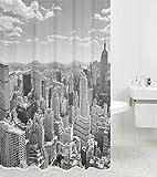 Duschvorhang Skyline New York 180 x 180 cm, hochwertige Qualität, 100prozent Polyester, wasserdicht, Anti-Schimmel-Effekt, inkl. 12 Duschvorhangringe