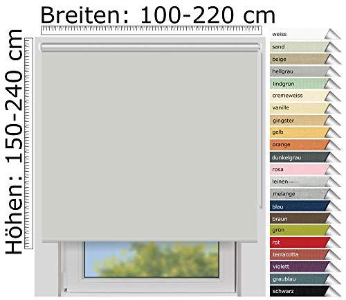 EFIXS Thermorollo Medium - 25 mm Welle - Farbe: hellgrau (054) - Größe: 200 x 190 cm (Stoffbreite x Höhe) - Hitzeschutzrollo - Verdunklungsrollo