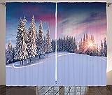 ABAKUHAUS Invierno Cortinas, Tranquila Idílico Panorama, Sala de Estar Dormitorio Cortinas Ventana Set de Dos Paños, 280 x 175 cm, Multicolor