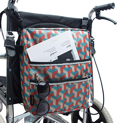 Wheelchair Bag by Pacmaxi - Wheelchair Backpack Bag with Reflective Tape - Wheelchair Accessories Storage Bag - Walker Accessible Pouch and Pockets for Unisex Handicap Elderly (Colorful)