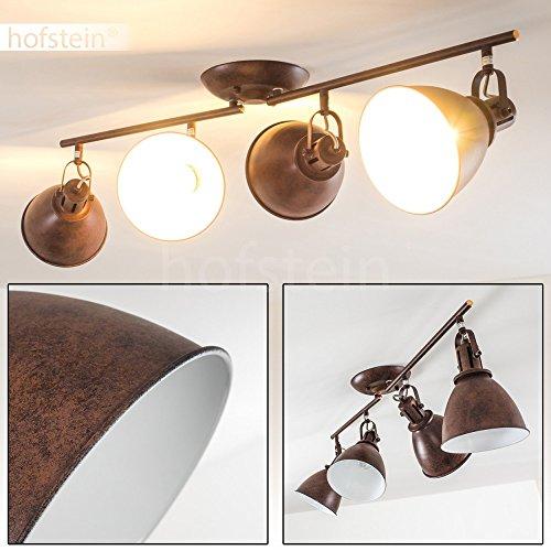 Deckenleuchte Koppom, Deckenlampe aus Metall in Rostbraun/Weiß, 4-flammig, mit verstellbaren Lampenschirmen und Lampenarmen, 4 x E14-Fassung, 40 Watt, Retro-Design