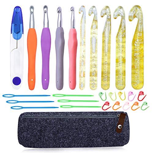 Bamru - Set de 27 agujas de ganchillo con mango de goma, agujas de punto y agujas de plástico con agujas de bordar, marcadores de punto, artesanía, accesorios