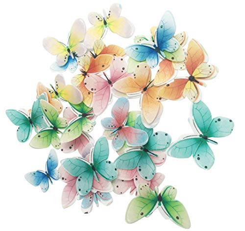 Set of 30 Edible Butterfly Cupcake Toppers Wedding Cake Birthday Party Food Decoration Mixed Size & Colou (A)