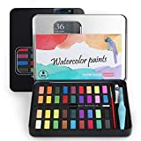 SS SHOVAN Caja de acuarelas, 36 colores pigmento sólido Set, perfectos para principiantes principiantes Haficionados y profesionales