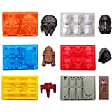 FantasyBear Star War Shaped Mold,Set of 6 Silicone Flexible Molds for Star Wars Lovers Robots Birthday Cake Decoration Candy Molds Chocolate Molds Soap Molds Baking Molds Jello Molds (6pcs Set)