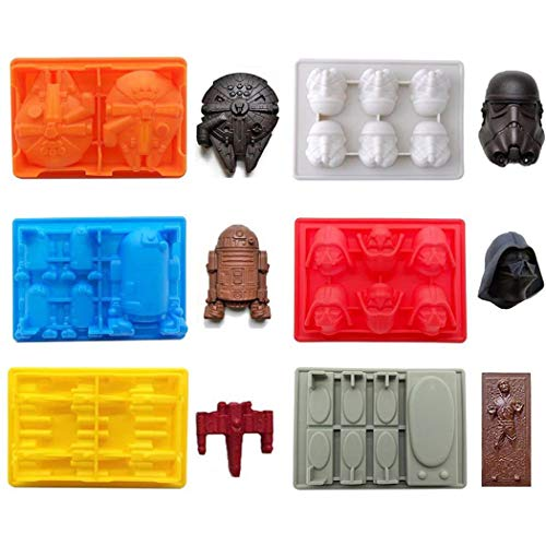 FantasyBear Star War Shaped Mold,Set of 6 Silicone Flexible Molds for Star Wars Lovers Robots Birthday Cake Decoration Candy Molds Chocolate Molds Soap Molds Baking Molds Jello Molds