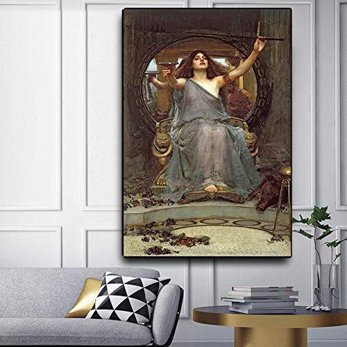 Impresión en lienzo William Waterhouse 《Circe ofreciendo la copa a Ulises pintura al óleo Obra de arte mundialmente famosa Imagen Decoración para el hogar 30x40cm Sin marco