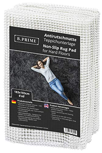 B.PRIME 183x183cm Antirutschmatte Universal I Teppichunterlage I Teppichunterleger I Teppichunterlage I Rutschschutz für Teppich I Teppichstopper