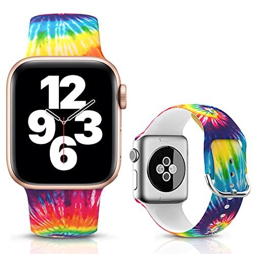 LJLB Correa Compatible con Apple Watch Correa 38mm 40mm, Correa de Repuesto de Silicona Suave para iWatch SE Series 6/5/4/3/2/1, M/L, Tie Dye Rainbow