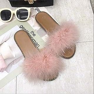 Fur Women Slipper Sandals Women Gladiator Outdoor Indoor Flats Shoes Women Casual Beach Flip-flops Slipper Ladies Comfy Slippers (Color : Pink, Shoe Size : 9)