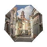 SUHETI Ombrello Portatile,Stampa europea di strade Heidelberg,Ombrello Pieghevole Automatico Antivento