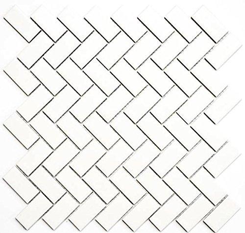 Mozaïek tegel keramiek visgraat wit mat voor vloer muur bad wc douche keuken tegelspiegel tegelverkleeding badkuip mozaïekmat mozaïekplaat